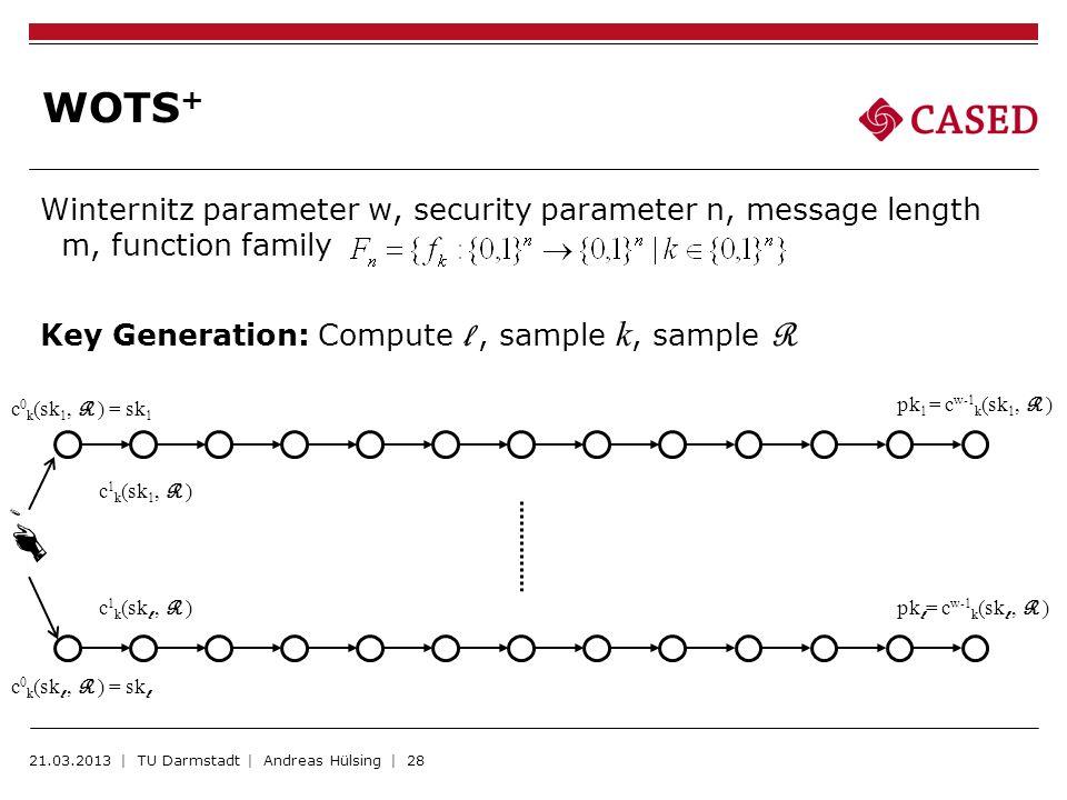 Winternitz parameter w, security parameter n, message length m, function family Key Generation: Compute l, sample k, sample R WOTS + 21.03.2013 | TU D