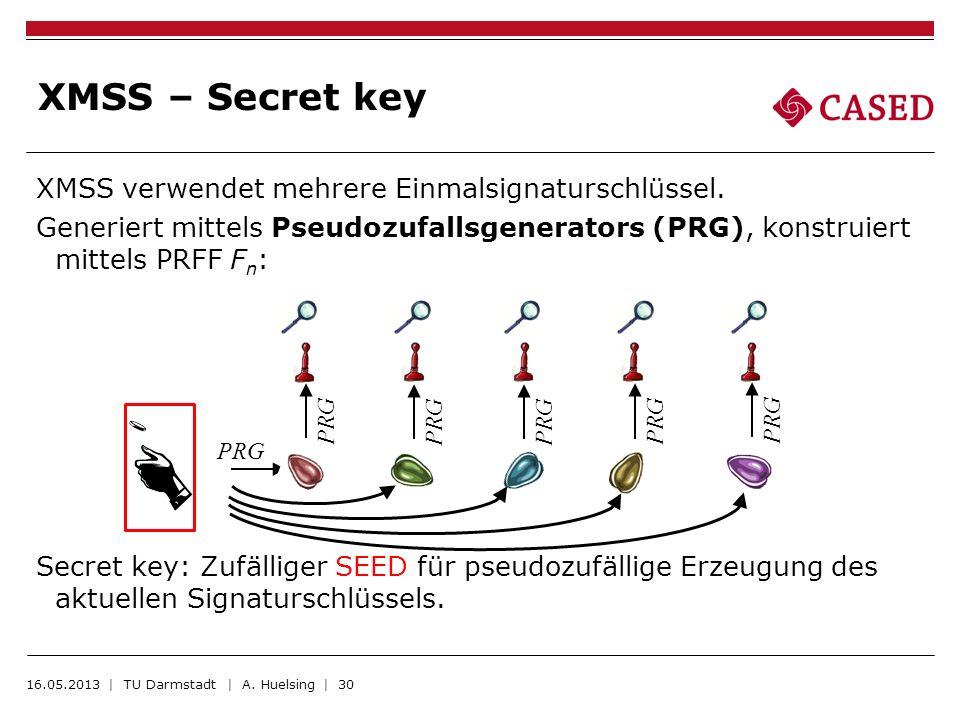 XMSS verwendet mehrere Einmalsignaturschlüssel. Generiert mittels Pseudozufallsgenerators (PRG), konstruiert mittels PRFF F n : Secret key: Zufälliger