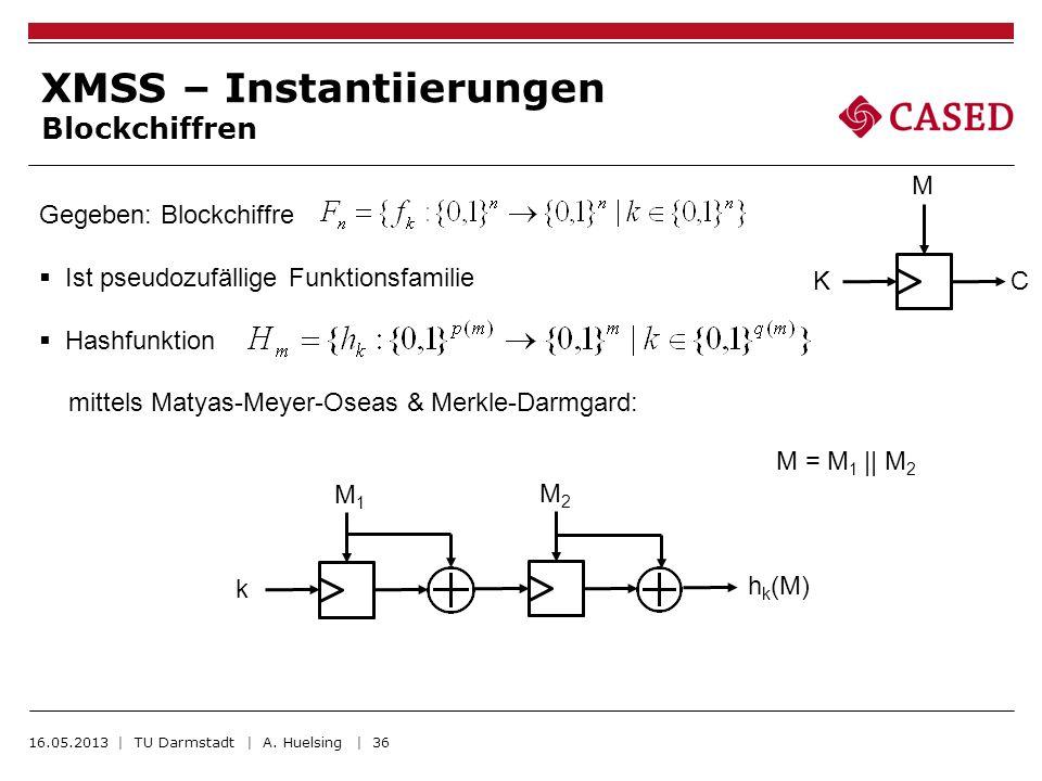 16.05.2013 | TU Darmstadt | A. Huelsing | 36 XMSS – Instantiierungen Blockchiffren Gegeben: Blockchiffre Ist pseudozufällige Funktionsfamilie Hashfunk