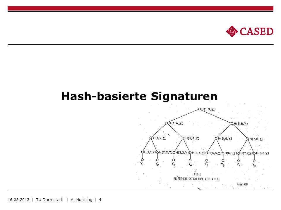 Hash-basierte Signaturen 16.05.2013 | TU Darmstadt | A. Huelsing | 4