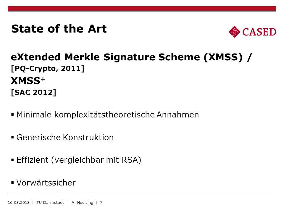 State of the Art eXtended Merkle Signature Scheme (XMSS) / [PQ-Crypto, 2011] XMSS + [SAC 2012] Minimale komplexitätstheoretische Annahmen Generische K