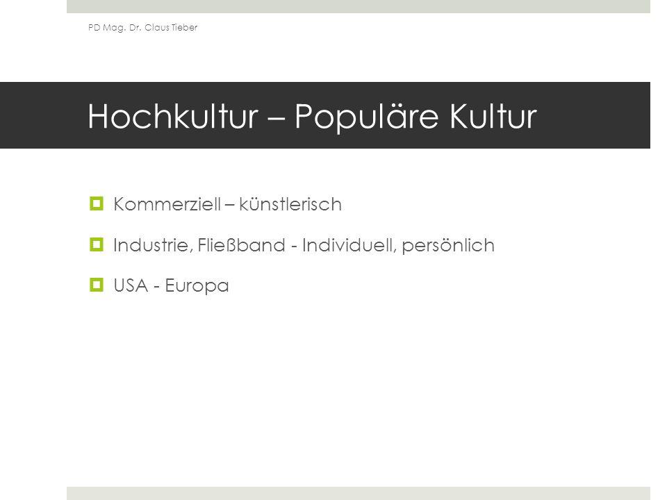 Hochkultur – Populäre Kultur Kommerziell – künstlerisch Industrie, Fließband - Individuell, persönlich USA - Europa PD Mag.
