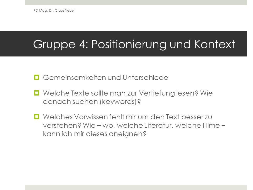 Gruppe 4: Positionierung und Kontext Gemeinsamkeiten und Unterschiede Welche Texte sollte man zur Vertiefung lesen.
