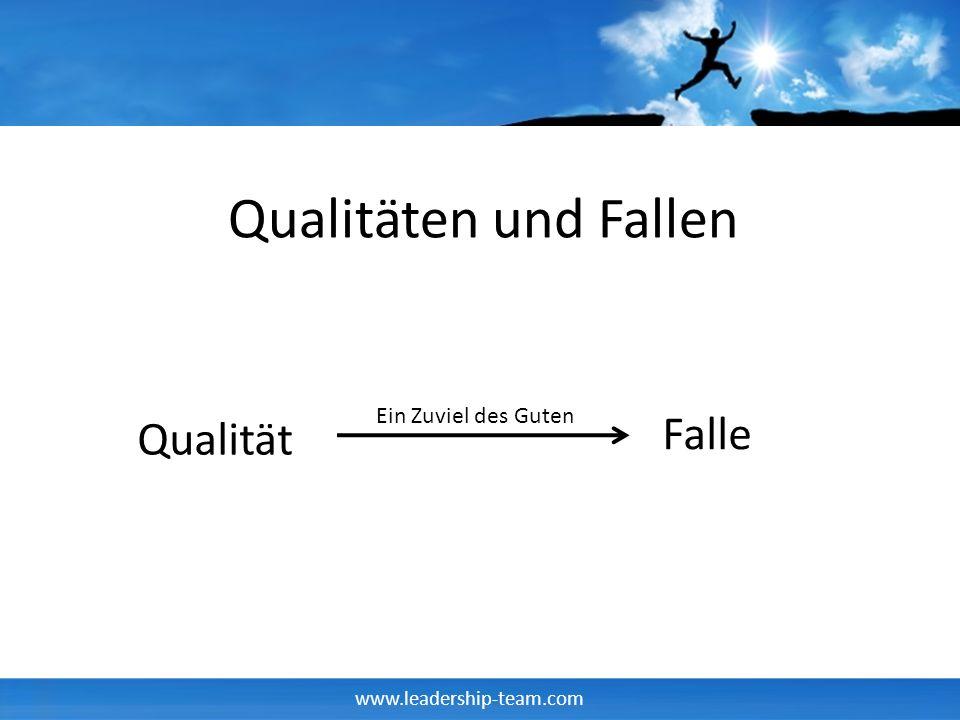 www.leadership-team.com Qualitäten und Fallen Qualität Falle Ein Zuviel des Guten