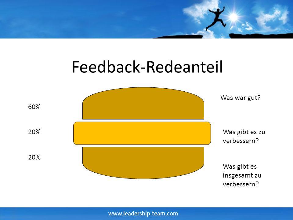www.leadership-team.com Feedback-Verhaltensregeln Feedback ist immer ein Geschenk Immer Bedanken Nie rechtfertigen Nachfragen ist erlaubt