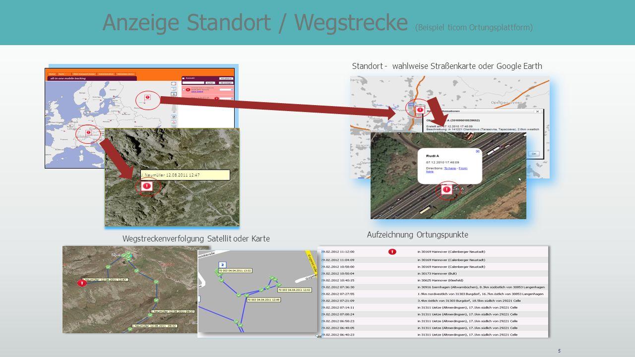 J. Neumüller 12.08.2011 12:47 Standort - wahlweise Straßenkarte oder Google Earth 5 Wegstreckenverfolgung Satellit oder Karte Aufzeichnung Ortungspunk