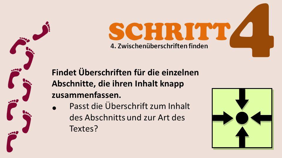 SCHRITT 4 4. Zwischenüberschriften finden Findet Überschriften für die einzelnen Abschnitte, die ihren Inhalt knapp zusammenfassen. Passt die Überschr