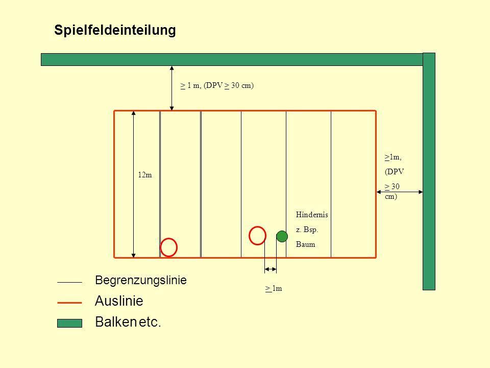 Begrenzungslinie Auslinie Balken etc. > 1 m, (DPV > 30 cm) Spielfeldeinteilung >1m, (DPV > 30 cm) 12m > 1m Hindernis z. Bsp. Baum
