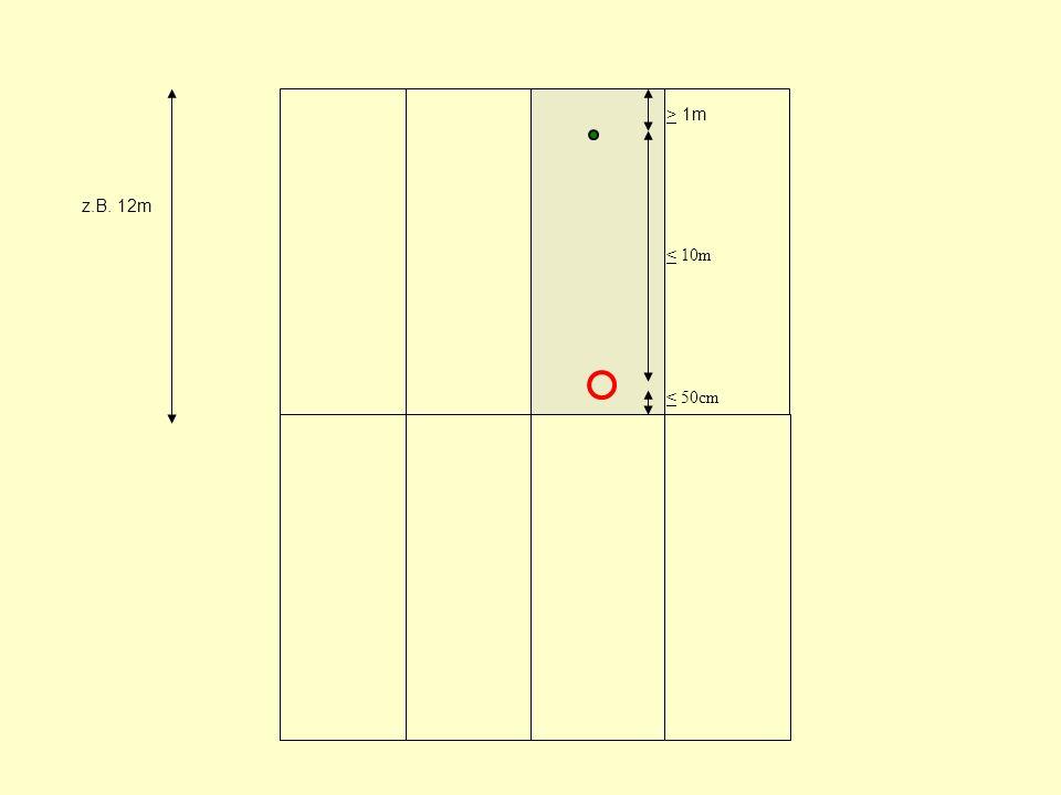 z.B. 12m > 1m < 10m < 50cm