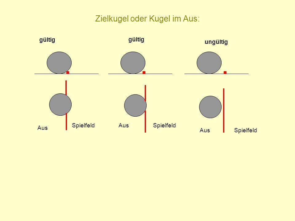 Zielkugel oder Kugel im Aus: Aus SpielfeldAusSpielfeld gültig AusSpielfeld ungültig