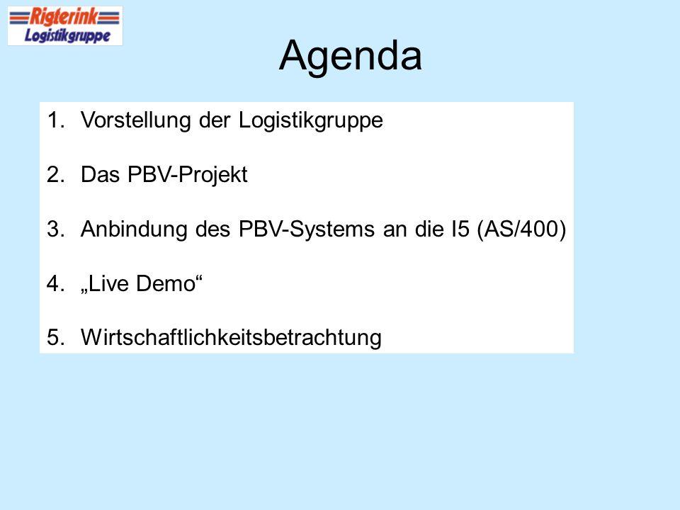 Agenda 1.Vorstellung der Logistikgruppe 2.Das PBV-Projekt 3.Anbindung des PBV-Systems an die I5 (AS/400) 4.Live Demo 5.Wirtschaftlichkeitsbetrachtung