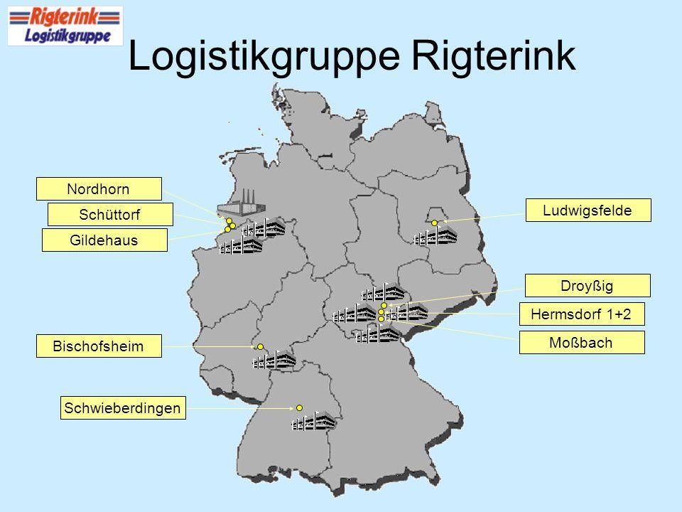 Logistikgruppe Rigterink Nordhorn Schüttorf Gildehaus BischofsheimSchwieberdingen Hermsdorf 1+2 Droyßig Moßbach Ludwigsfelde