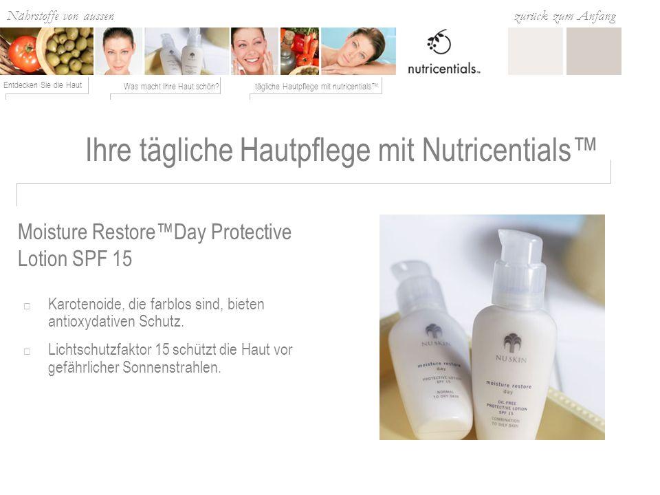 Nährstoffe von aussen Was macht Ihre Haut schön?tägliche Hautpflege mit nutricentials Entdecken Sie die Haut zurück zum Anfang Moisture RestoreDay Protective Lotion SPF 15 Karotenoide, die farblos sind, bieten antioxydativen Schutz.