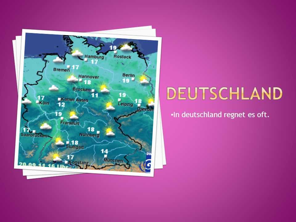 In deutschland regnet es oft.