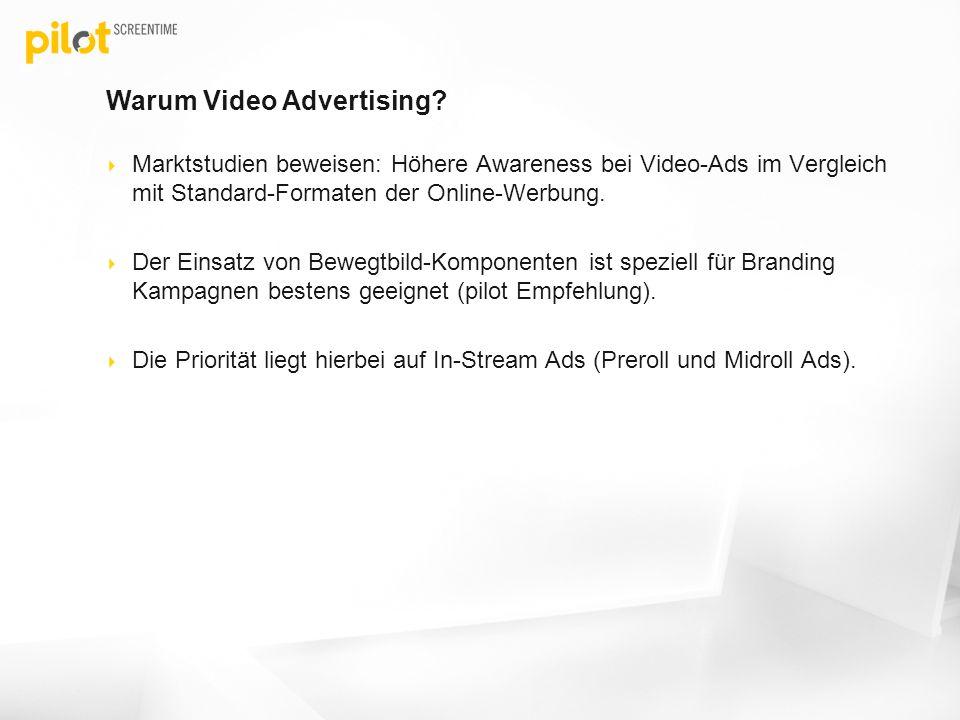 Warum Video Advertising? Marktstudien beweisen: Höhere Awareness bei Video-Ads im Vergleich mit Standard-Formaten der Online-Werbung. Der Einsatz von