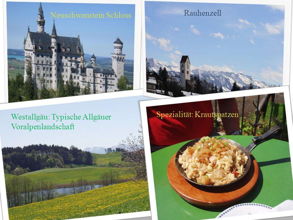 Neuschwanstein Schloss Westallgäu: Typische Allgäuer Voralpenlandschaft Rauhenzell Spezialität: Krautspatzen
