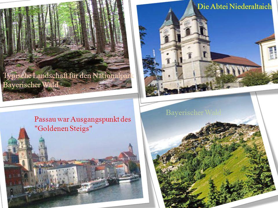 Bayerischer Wald Die Abtei Niederaltaich Passau war Ausgangspunkt des Goldenen Steigs Typische Landschaft für den Nationalpark Bayerischer Wald