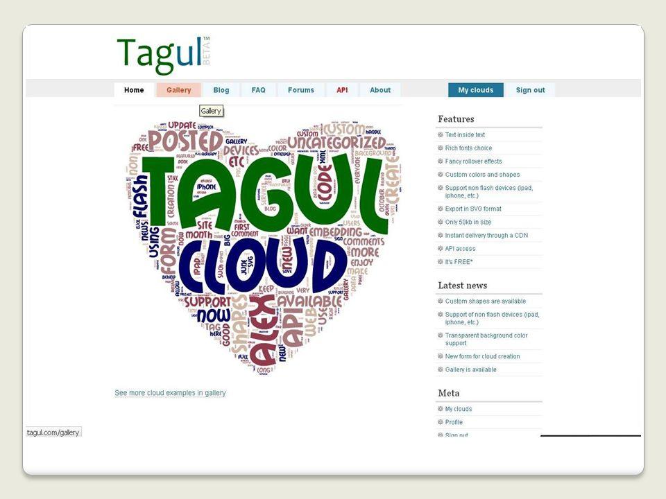 Tagul Tagul - веб-сервис, позволяющий создать облако слов из текста, взятого с указанного URL (адрес веб-страницы) или введенного (скопированного) пользователем.