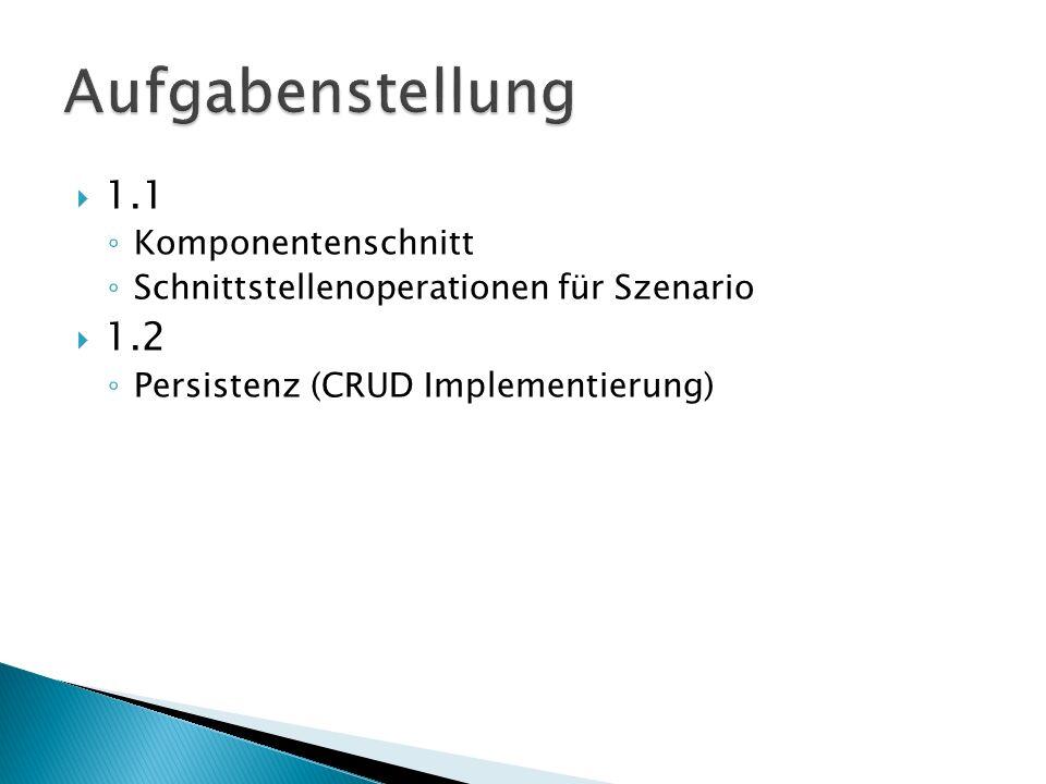 1.1 Komponentenschnitt Schnittstellenoperationen für Szenario 1.2 Persistenz (CRUD Implementierung)