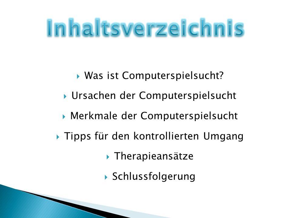 Unter Computerspielsucht versteht man den zwanghaften Drang, sich regelmäßig und extensiv mit dem Internet zu befassen.