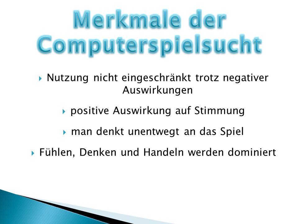 Nutzung nicht eingeschränkt trotz negativer Auswirkungen positive Auswirkung auf Stimmung man denkt unentwegt an das Spiel Fühlen, Denken und Handeln