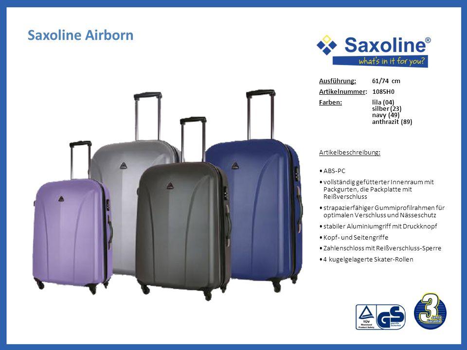 Saxoline Airborn Ausführung: 61/74 cm Artikelnummer: 1085H0 Farben: lila (04) silber (23) navy (49) anthrazit (89) Artikelbeschreibung: ABS-PC vollstä