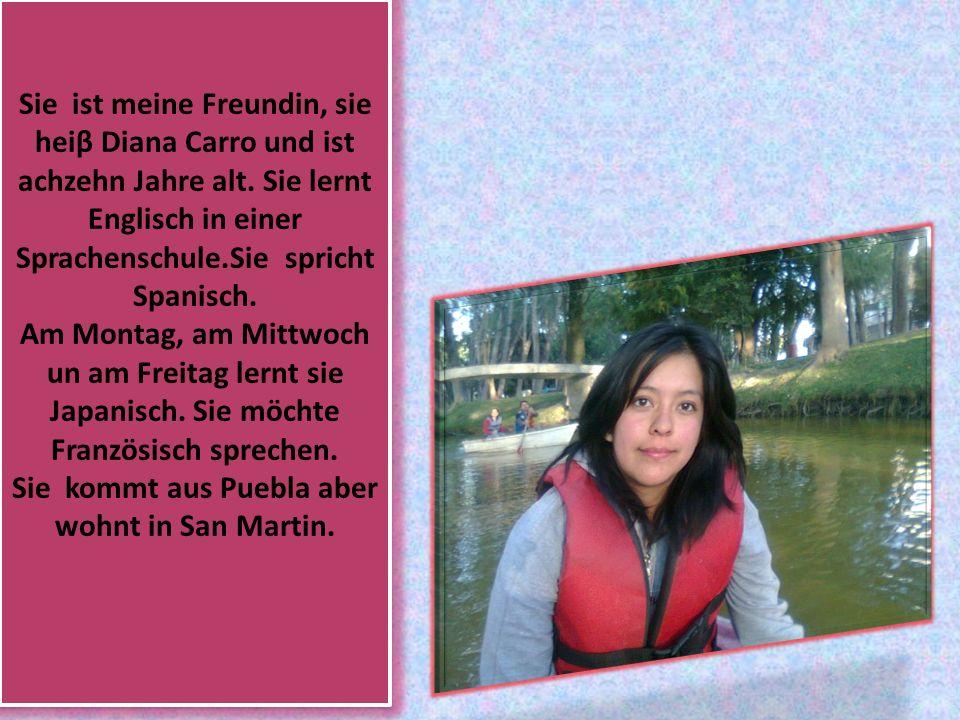 Sie ist meine Freundin, sie heiβ Diana Carro und ist achzehn Jahre alt.