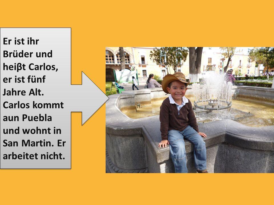 Er ist ihr Brüder und heiβt Carlos, er ist fünf Jahre Alt. Carlos kommt aun Puebla und wohnt in San Martin. Er arbeitet nicht.