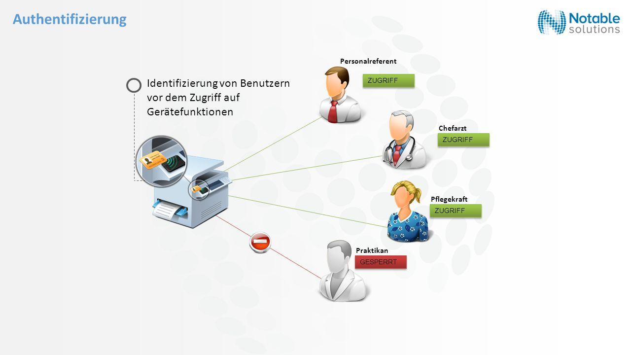 Chefarzt Personalreferent Pflegekraft Praktikan t ZUGRIFF GESPERRT Identifizierung von Benutzern vor dem Zugriff auf Gerätefunktionen