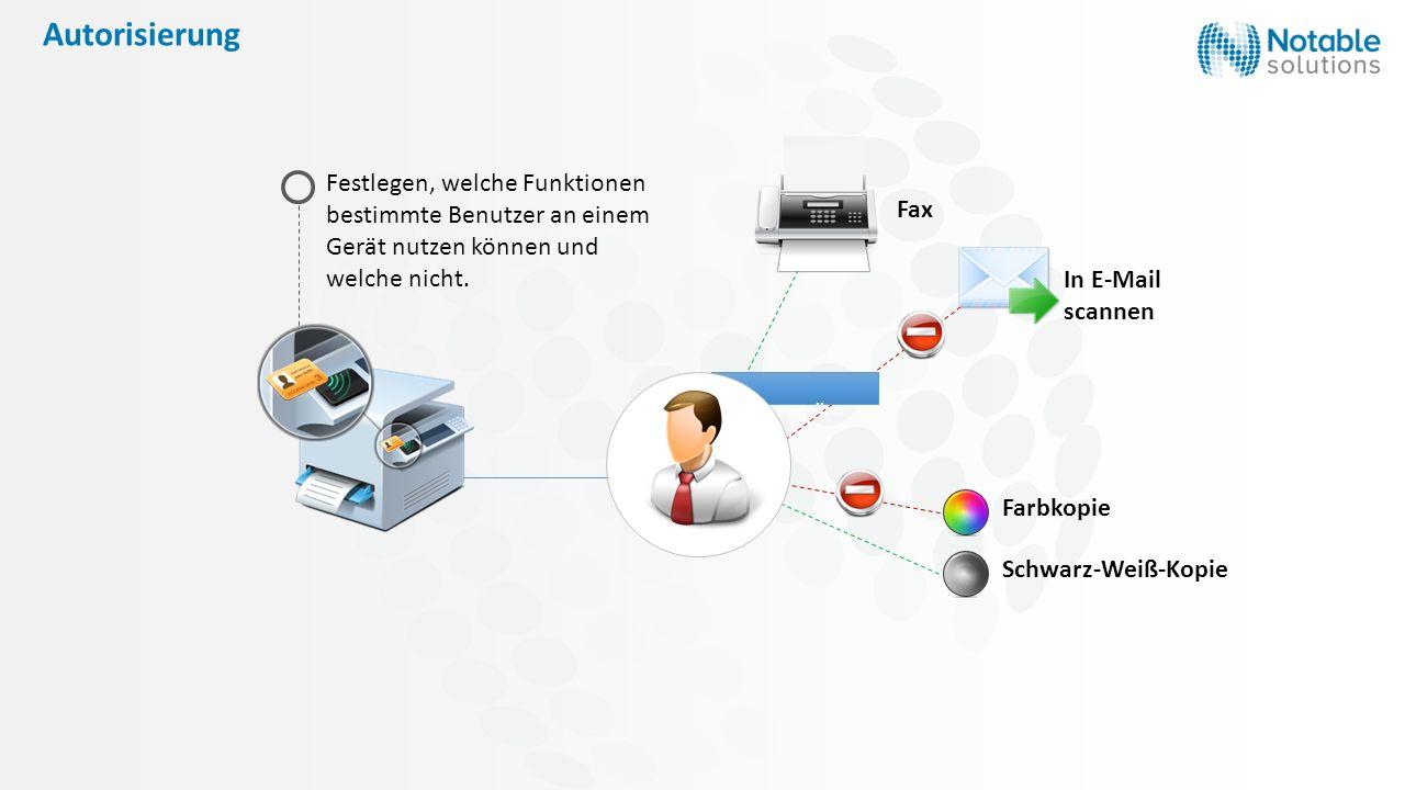 Autorisierung Festlegen, welche Funktionen bestimmte Benutzer an einem Gerät nutzen können und welche nicht. Farbkopie Schwarz-Weiß-Kopie Fax Büroange