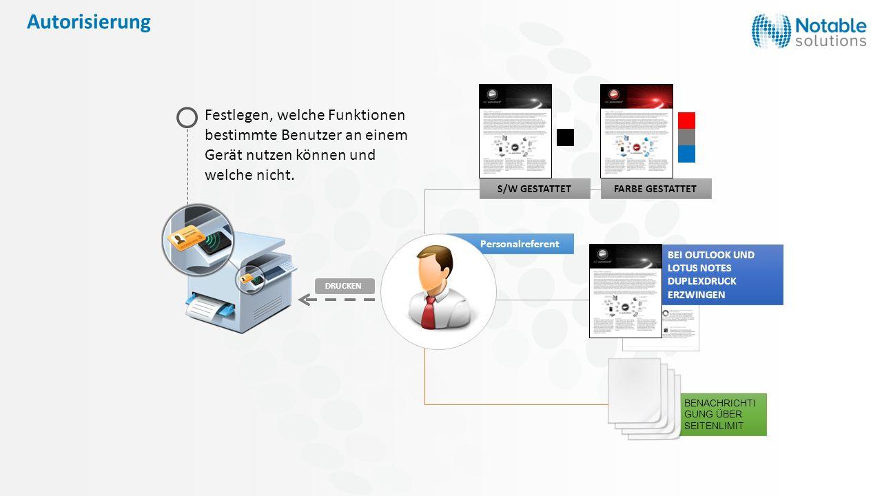 Autorisierung S/W GESTATTETFARBE GESTATTET BENACHRICHTI GUNG ÜBER SEITENLIMIT Festlegen, welche Funktionen bestimmte Benutzer an einem Gerät nutzen kö
