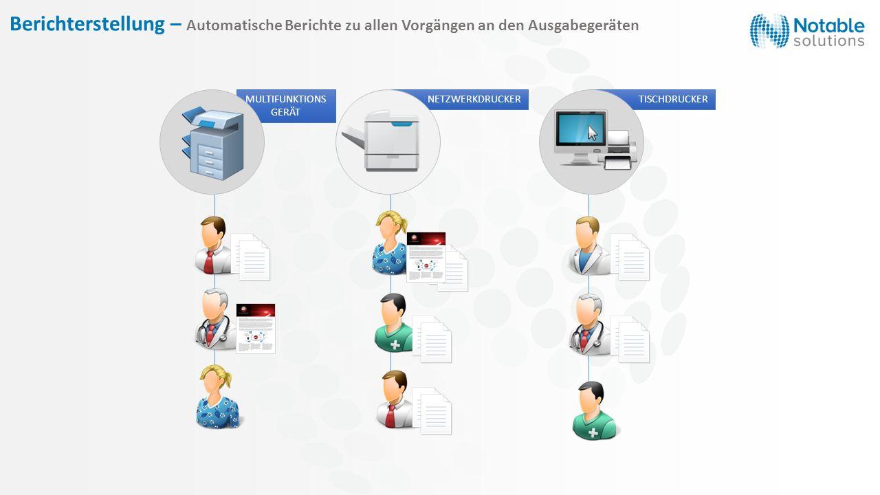 Berichterstellung – Automatische Berichte zu allen Vorgängen an den Ausgabegeräten MULTIFUNKTIONS GERÄT NETZWERKDRUCKER TISCHDRUCKER