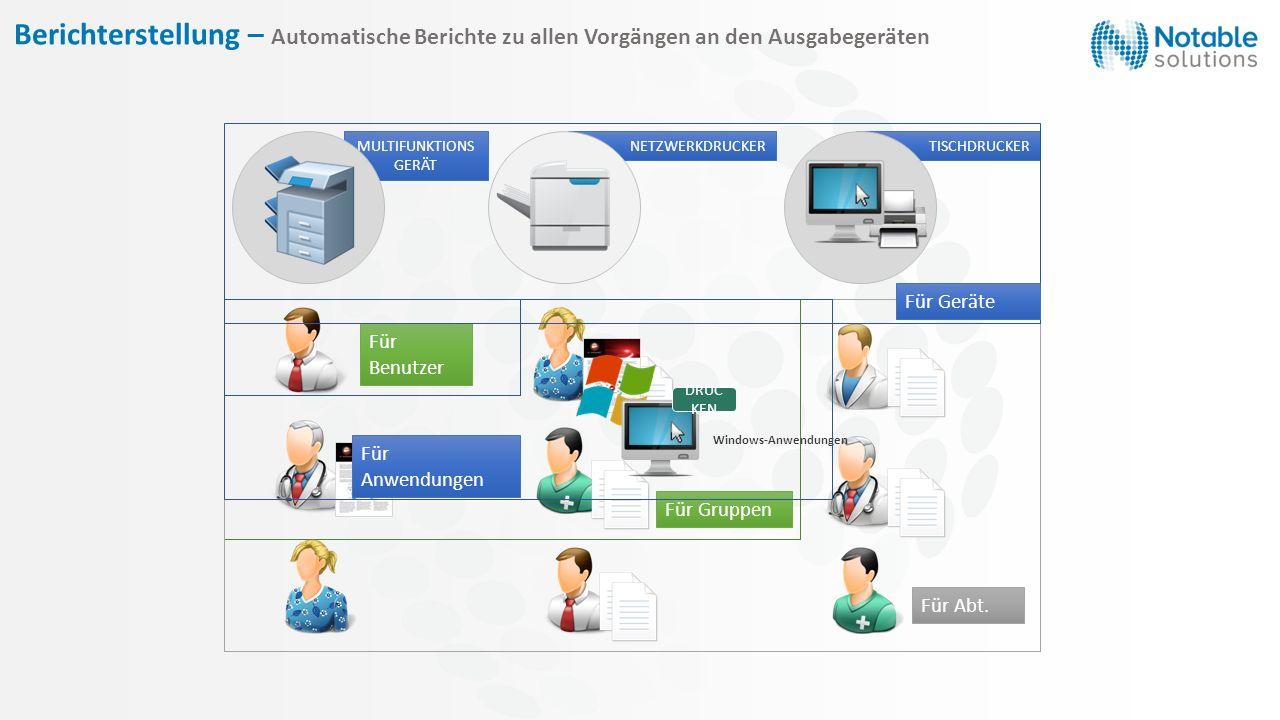Berichterstellung – Automatische Berichte zu allen Vorgängen an den Ausgabegeräten Für Benutzer Für Gruppen Für Abt. MULTIFUNKTIONS GERÄT NETZWERKDRUC