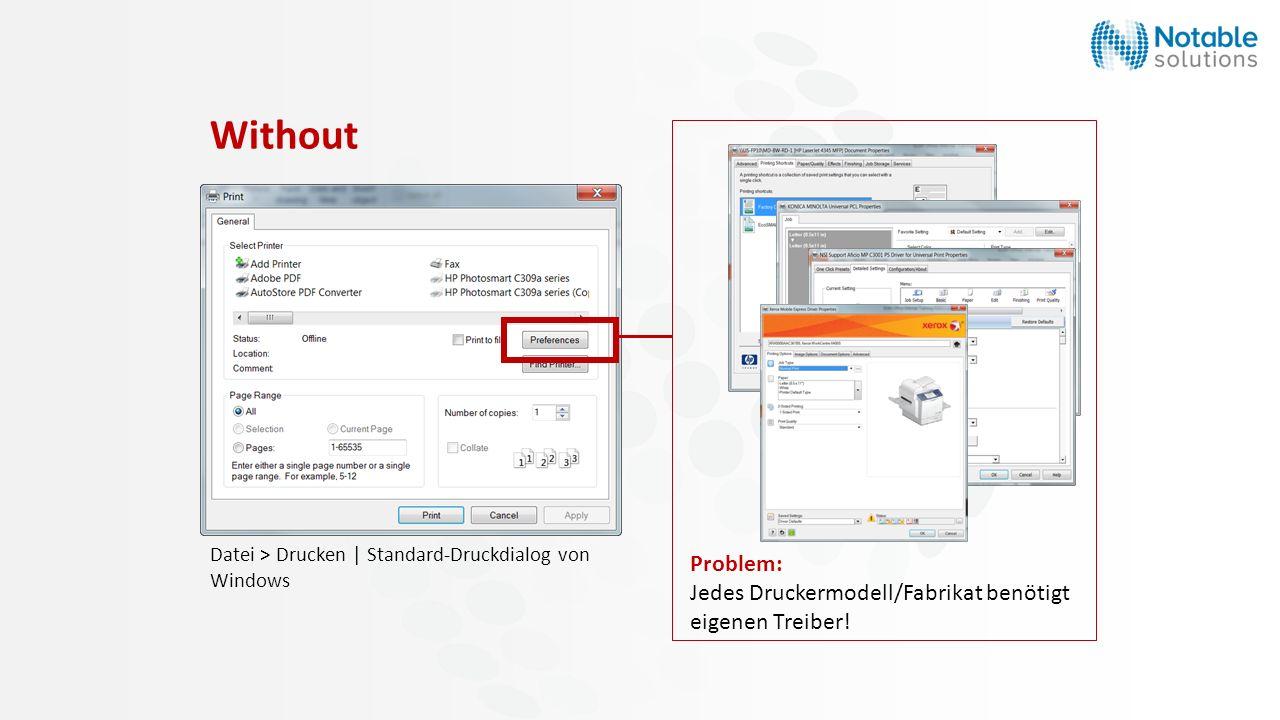 Datei > Drucken | Standard-Druckdialog von Windows Problem: Jedes Druckermodell/Fabrikat benötigt eigenen Treiber! Without