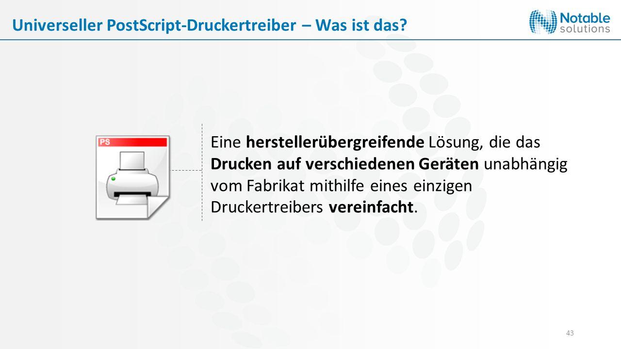 43 Eine herstellerübergreifende Lösung, die das Drucken auf verschiedenen Geräten unabhängig vom Fabrikat mithilfe eines einzigen Druckertreibers vere