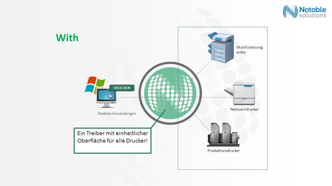 With Desktop-Anwendungen DRUCKEN Multifunktionsg eräte Netzwerkdrucker Produktionsdrucker Ein Treiber mit einheitlicher Oberfläche für alle Drucker!