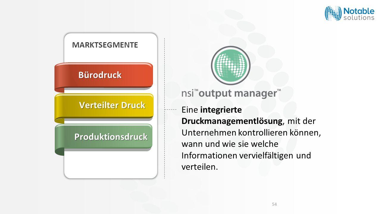 54 Eine integrierte Druckmanagementlösung, mit der Unternehmen kontrollieren können, wann und wie sie welche Informationen vervielfältigen und verteil