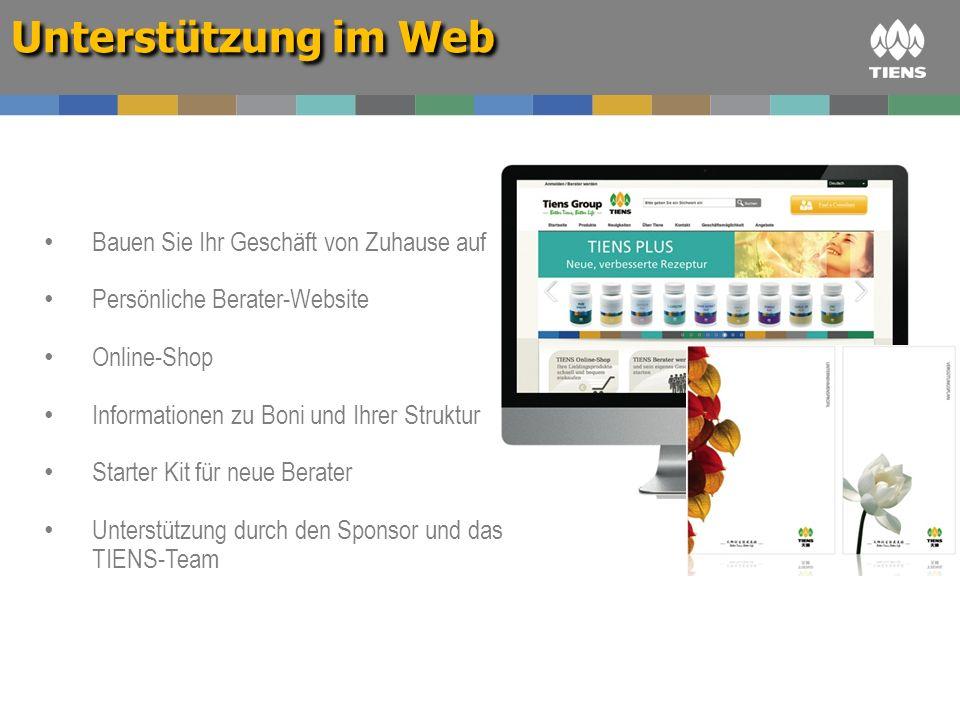 Bauen Sie Ihr Geschäft von Zuhause auf Persönliche Berater-Website Online-Shop Informationen zu Boni und Ihrer Struktur Starter Kit für neue Berater U