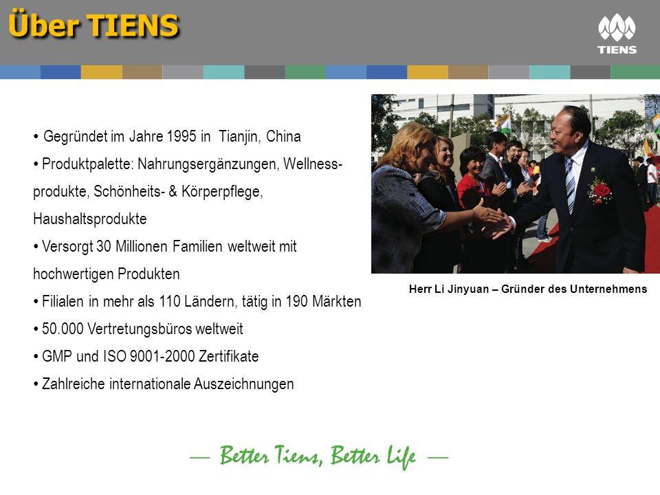 Über TIENS Gegründet im Jahre 1995 in Tianjin, China Produktpalette: Nahrungsergänzungen, Wellness- produkte, Schönheits- & Körperpflege, Haushaltspro