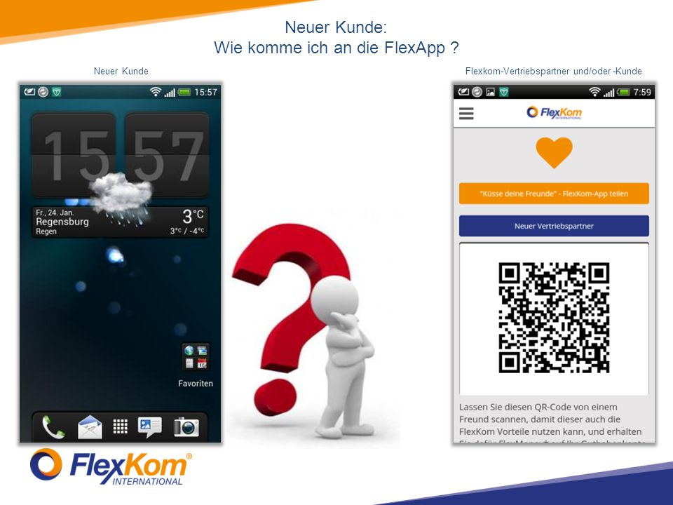 Neuer Kunde: Wie komme ich an die FlexApp Neuer KundeFlexkom-Vertriebspartner und/oder -Kunde