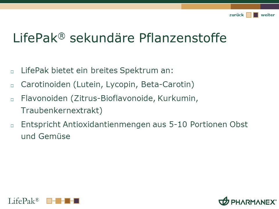 LifePak ® weiterzurück LifePak ® sekundäre Pflanzenstoffe LifePak bietet ein breites Spektrum an: Carotinoiden (Lutein, Lycopin, Beta-Carotin) Flavono