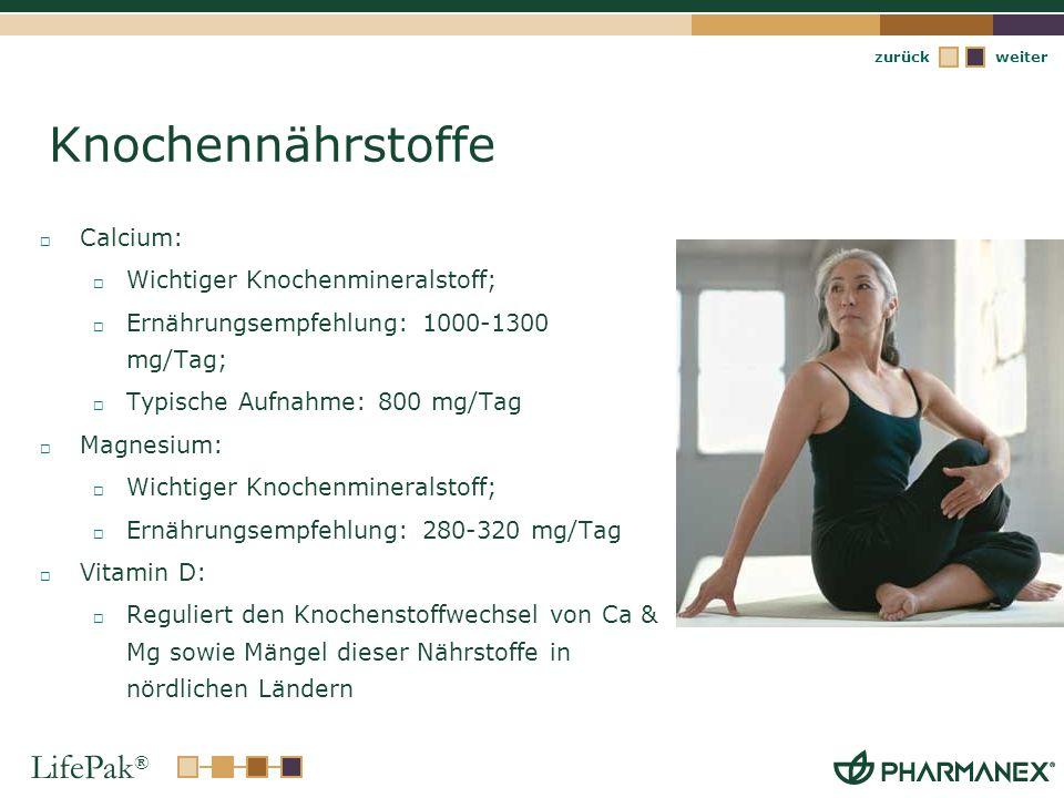 LifePak ® weiterzurück Knochennährstoffe Calcium: Wichtiger Knochenmineralstoff; Ernährungsempfehlung: 1000-1300 mg/Tag; Typische Aufnahme: 800 mg/Tag