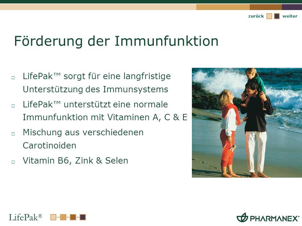 LifePak ® weiterzurück Förderung der Immunfunktion LifePak sorgt für eine langfristige Unterstützung des Immunsystems LifePak unterstützt eine normale