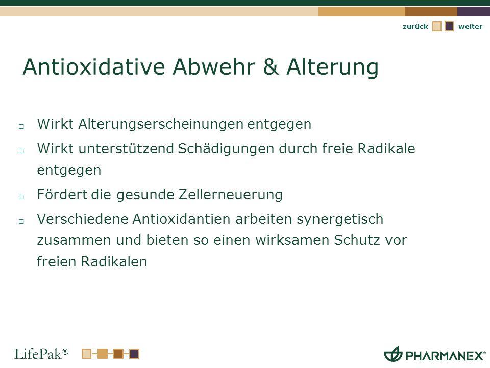 LifePak ® weiterzurück Antioxidative Abwehr & Alterung Wirkt Alterungserscheinungen entgegen Wirkt unterstützend Schädigungen durch freie Radikale ent