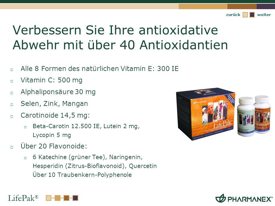 LifePak ® weiterzurück Verbessern Sie Ihre antioxidative Abwehr mit über 40 Antioxidantien Alle 8 Formen des natürlichen Vitamin E: 300 IE Vitamin C: