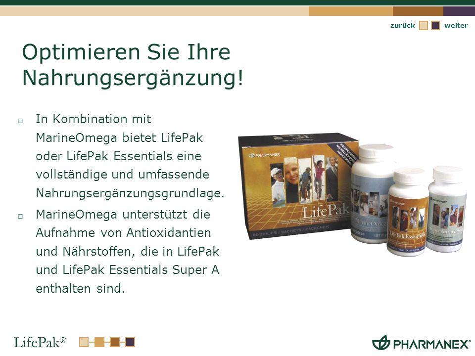LifePak ® weiterzurück Optimieren Sie Ihre Nahrungsergänzung! In Kombination mit MarineOmega bietet LifePak oder LifePak Essentials eine vollständige