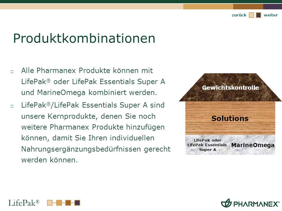 LifePak ® weiterzurück Produktkombinationen Alle Pharmanex Produkte können mit LifePak ® oder LifePak Essentials Super A und MarineOmega kombiniert we