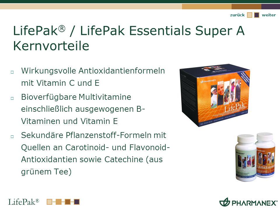 LifePak ® weiterzurück LifePak ® / LifePak Essentials Super A Kernvorteile Wirkungsvolle Antioxidantienformeln mit Vitamin C und E Bioverfügbare Multi