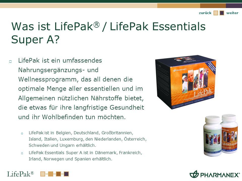 LifePak ® weiterzurück LifePak ® / LifePak Essentials Super A Kernvorteile Wirkungsvolle Antioxidantienformeln mit Vitamin C und E Bioverfügbare Multivitamine einschließlich ausgewogenen B- Vitaminen und Vitamin E Sekundäre Pflanzenstoff-Formeln mit Quellen an Carotinoid- und Flavonoid- Antioxidantien sowie Catechine (aus grünem Tee)