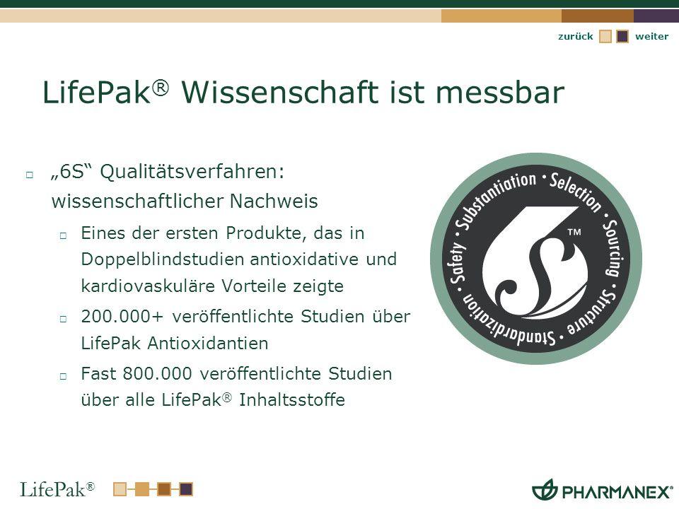 LifePak ® weiterzurück LifePak ® Wissenschaft ist messbar 6S Qualitätsverfahren: wissenschaftlicher Nachweis Eines der ersten Produkte, das in Doppelb